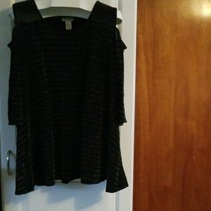 Catherine's, 2X, Black Cold Shoulder Top